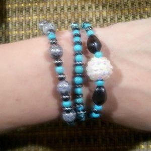 Turquoise Crystal ball stacking bracelets